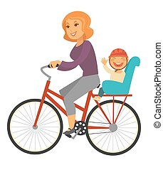 Mother rides bicycle with baby boy on special seat - Mother...