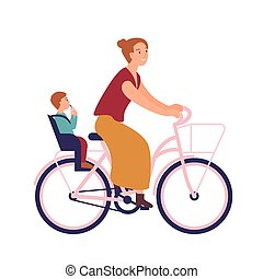 Mother riding bike with baby in seat. Cute smiling young woman on bicycle with her child. Pedaling female bicyclist isolated on white background. Active parenting. Flat cartoon vector illustration.