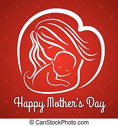 Mother s day greeting card with symbol of mom and baby. Vector illustration.