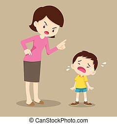mother scolding crying children boy - mother is scolding her...