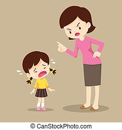 mother scolding crying children girl