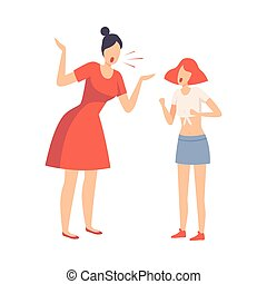 Mother Scolding Her Teenager Daughter, Conflict with Parents Vector Illustration