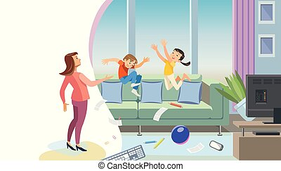 Mother Scolding Naughty Children Vector Concept