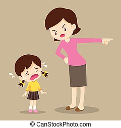 mother scolding sad children girl - mother is scolding her ...