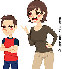 Mother Scolding Son - Illustration of upset young mother...