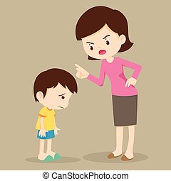 Mother angry at her son and blame - Mother scolds her son. ...