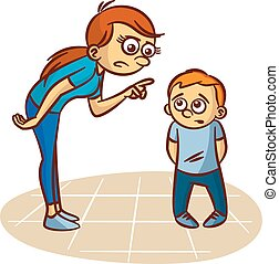 Mother scolds the child Clipart Vector illustration