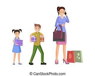 Mother shopping with kids vector illustration