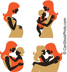 Mother silhouette with baby. Set of silhouette pregnant woman and mother with child at different age
