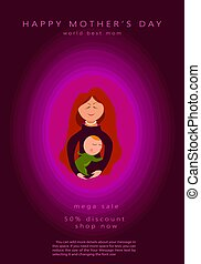 Mother silhouette with her baby. Card of Happy Mothers Day. Vector illustration with beautiful woman and child. Pink design element for holiday banner, poster. Paper cut style, vector illustration sale