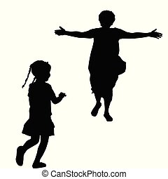 Mother silhouette with open arms running to a little girl