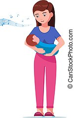 Vector illustration mother singing a lullaby song to her baby. Isolated white background. Woman singing a lullaby to a newborn. Flat style.