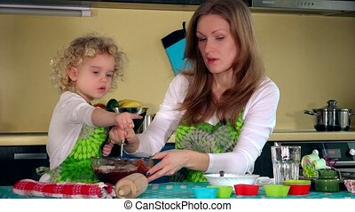 Mother smiling and tutoring daughter prepare dough for homemade cake in kitchen