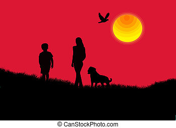 Mother, son and the dog background