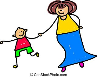 caucasian mother holding hands with her son - toddler art series