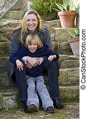 Mother & Son In The Garden