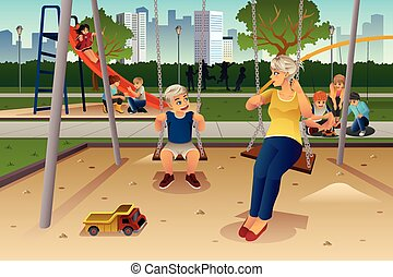 Mother Son Playing on Swing