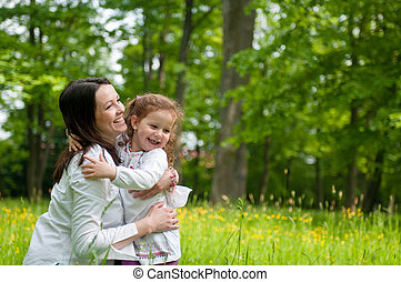 Mother spending happy time with her child