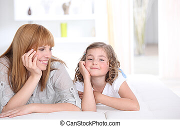 Mother spending time with daughter