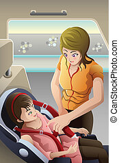 Mother strapping seatbelt on her child car seat - A vector...