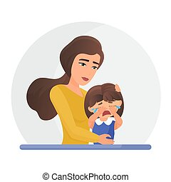 Mother supporting crying little daughter flat vector illustration. Mental disorder, psychotherapy concept. Mom consolation sad girl cartoon characters. Woman comforting upset kid.