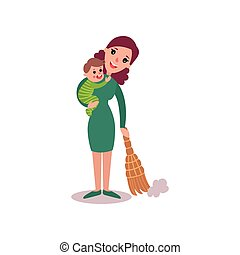 Mother sweeping the floor with baby in her arms, super mom concept vector Illustration