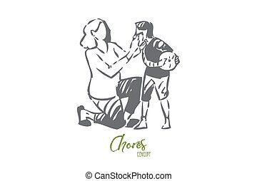 Mother taking care of boy concept sketch. Wiping dirt off of childs face with napkin. Raising children. Stay at home mom parenting kid. Motherly love and care. Isolated vector illustration