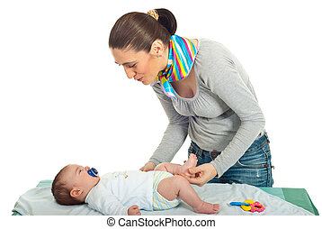 Mother talking with her newborn baby