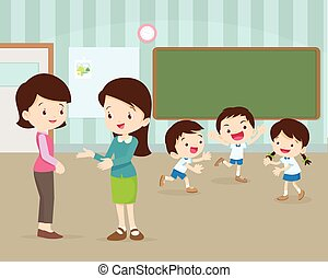 mother talking young teacher