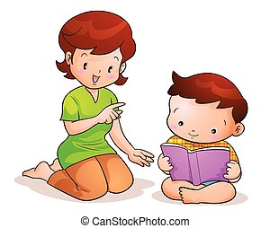 mother taught son reading - mom teaches son reading book