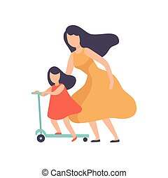 Mother Teaching Daughter to Ride Kick Scooter, Happy Family Outdoor Activities Vector Illustration