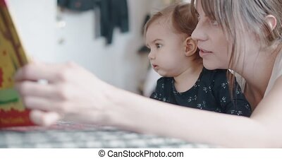 Mother teaching her baby girl at home. 4K Cinematic footage.