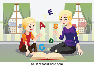 Mother teaching her child - A vector illustration of a...