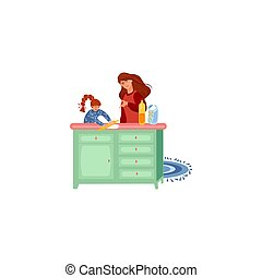 Mother teaching her daughter to cook dough vector illustration