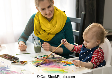 mother teaching her little daughter how to paint with watercolors