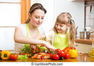 mother teaching kid daughter preparing salad at kitchen