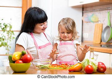 mother teaching kid daughter preparing salad at kitchen