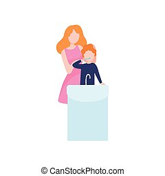Mother Teaching Son to Clean Teeth, Mom and Kid Spending Time Together Vector Illustration