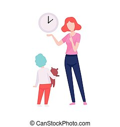 Mother Teaching Son to Read Time, Mom Spending Time with Her Kid Vector Illustration