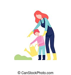 Mother Teaching Son to Water Plants, Mom and Kid Spending Time Together Vector Illustration