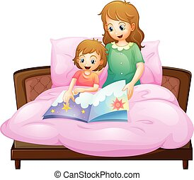 Mother telling bedtime story to kid in bed illustration