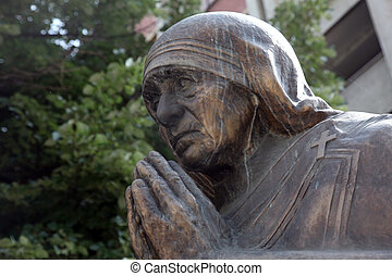 Mother Teresa monument in Skopje on May 17, 2013. Mother...