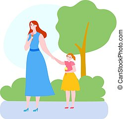 Mother time with daughter vector illustration, cartoon flat mom and kid girl characters walking, eating ice cream isolated on white