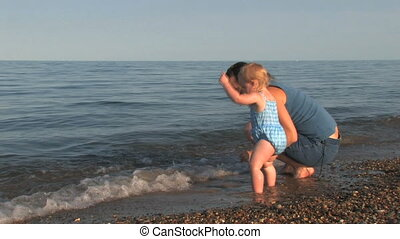 Mother, Toddler at Beach