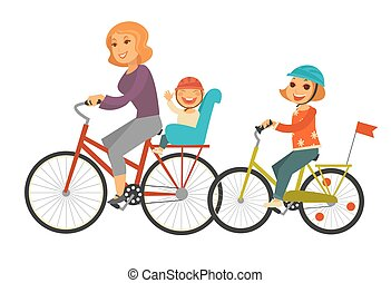 Mother together with children ride bicycles isolated illustration