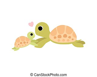Mother Tortoise and Its Baby, Cute Turtles Family Vector Illustration