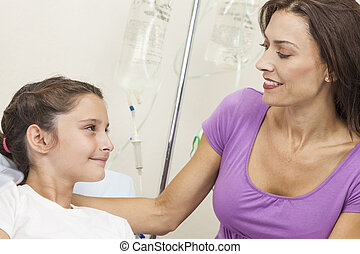 Mother Visiting Daughter Child Patient In Hospital Bed