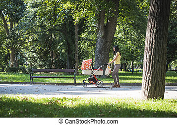 Mother walking in the park with baby buggy