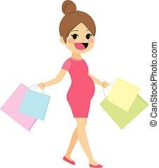 Mother Walking Shopping Pregnant