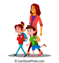 Mother Walking To School With Children In New School Year Vector. Isolated Illustration